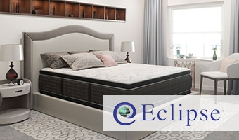 Eclipse Mattress with brand logo in bedroom setting