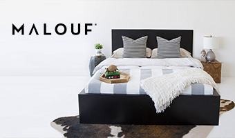 Malouf Mattress bed Set against White Wall and Floor