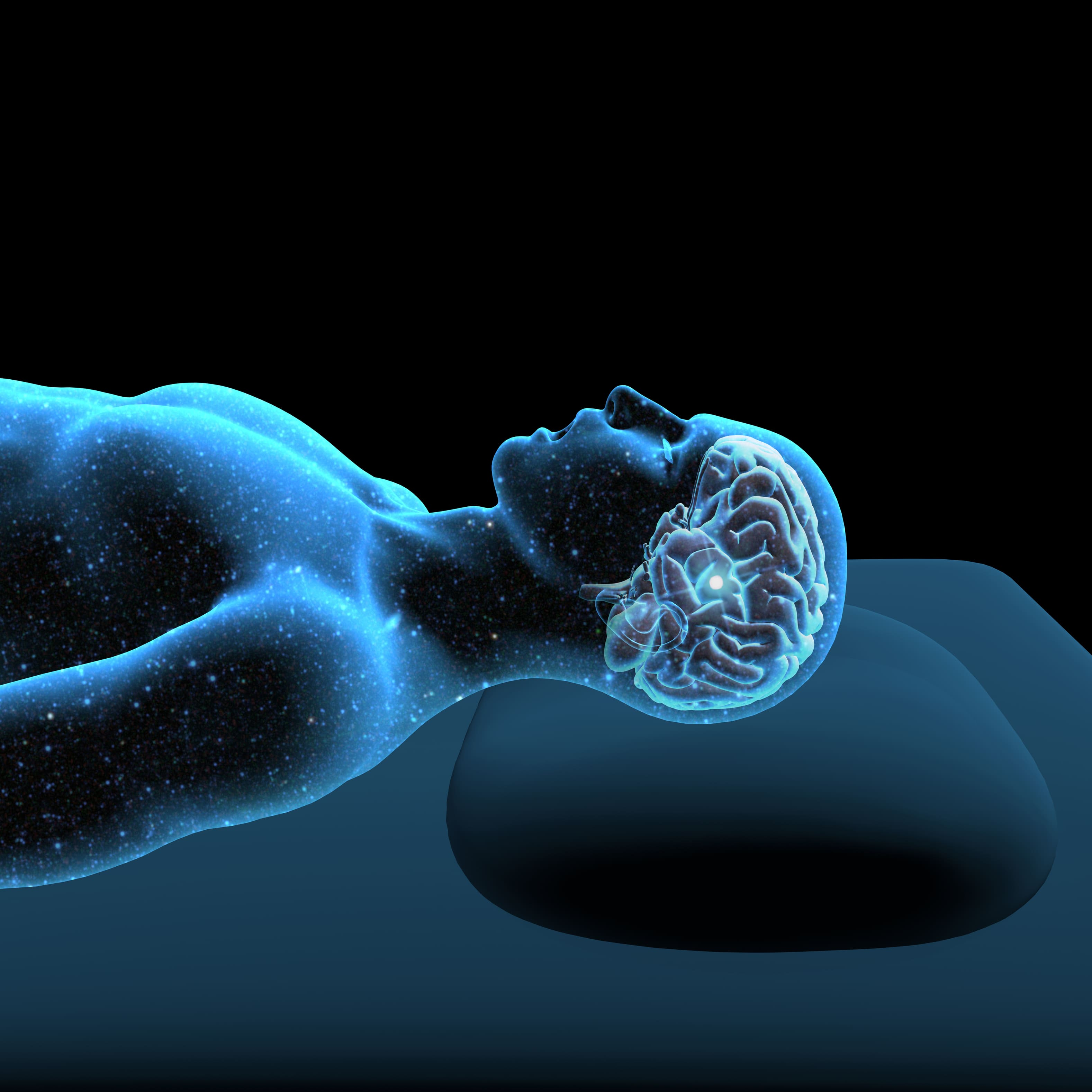 transparent view of person laying down with xray shot of brain to show what's working as you sleep