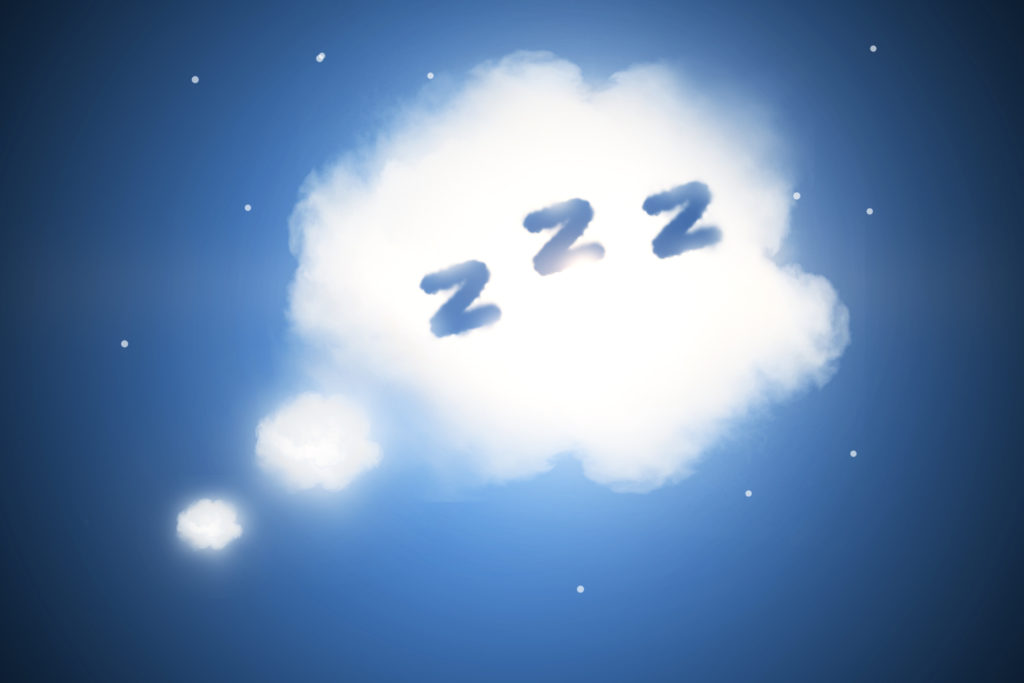 "a cloud in the night sky with ""zzz"" on the inside"